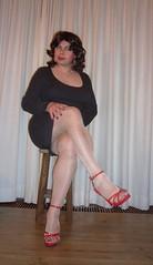 grey dress and strappy red heels (Barb78ara) Tags: highheels sandals heels redlipstick stiletto stilettoheels nylon nylons paintednails rednails minidress redheels paintedtoes redtoes shinypantyhose shortdress greydress nylonpantyhose littlegreydress