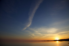 erie sunset (thatgirlwiththekicks) Tags: pink blue sunset sky orange sun ontario canada beach water silhouette yellow clouds golden evening pier lakeerie shore pastels gradient portstanley