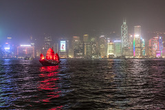 Victoria harbour by night (Zuttamo) Tags: city sky water colors night hongkong boat harbour victoria