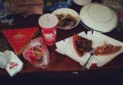 PAGKAIN  #angbaboyko #food #wendys #pineapplejuice #jumbo #fries #pizza #pezzopizza #sinigangnababoy #buhaymanila #page117of366 (michell14_go) Tags: square squareformat rise iphoneography instagramapp uploaded:by=instagram