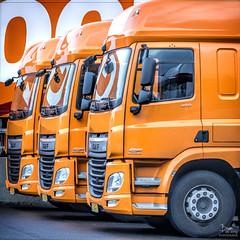 DAF (dejongbram) Tags: orange car truck outdoor vehicle deventer oranje vrachtwagen daf cabine