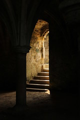 Stone Archway (GlowingGrace) Tags: old light orange church stone architecture stairs contrast religious arch religion medieval lightanddark