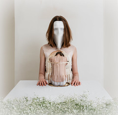 Stay (samueldotdixon) Tags: flowers white bird birdcage skull mask cage vignette