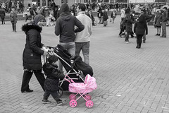 Mother and Daughter (natures-pencil) Tags: pink people blackandwhite colour rotterdam toddler child blaak daughter mother pram selectivecolour kingsday lovelycity