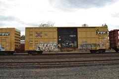 DSC_2715 (huntingtherare) Tags: sign train bench graffiti slap freight rollingstock benching