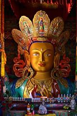 Maitreya Buddha..... Thiksay Monastery (pallab seth) Tags: city travel panorama india mountain tourism statue landscape asia tour monastery valley idol layers leh himalayas deity thikse highaltitude gompa jammuandkashmir indusvalley maitreyabuddha thiksay thikseygompa