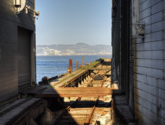 old railwayline between the Piers in San Francisco (neilalderney123) Tags: sanfrancisco california usa oakland decay oldhistory 2016neilhoward