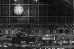 St Pancras (handmiles) Tags: bw london monochrome station architecture train prime mono sony railway indoor inside serene stpancras f28 blackamdwhite in primelens londonstpancras sony85mm sonya77m2 sonya77mark2 mileshandphotography2016