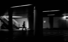 Mirrored (Dan-Schneider) Tags: street camera light shadow people urban blackandwhite bw silhouette mirror europe metro streetphotography scene human silence moment hanover schwarzweiss decisive schneider mft einfarbig omdem10