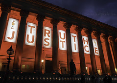 Truth & Justice (.annajane) Tags: uk light red england architecture liverpool justice football memorial truth candle dusk projection candlelight column hillsborough merseyside lfc stgeorgeshall ynwa hillsboroughdisaster