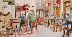 Le café Paddy's Corner N°2 (geneterre69) Tags: café aquarelle intérieur encredechine