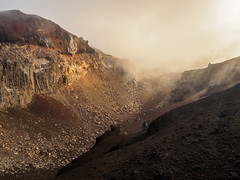 The Misty Red Crater (blue polaris) Tags: park new red misty fog sunrise landscape island volcano crossing cloudy north zealand alpine national crater tongariro