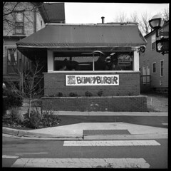 Old Blimpy (Voxphoto) Tags: bw 6x6 tlr restaurant minolta annarbor hamburger sq demolished 2012 lostannarbor autocord divisionst aristaeduultra100 krazyjims oldlocation blimpyburger