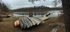 Camp Loughridge this morning (Pejasar) Tags: orange lake oklahoma water bench boats dock rocks canoes tulsa camploughridge