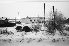 another land (nVa17) Tags: houses winter blackandwhite bw snow train buildings landscape blackwhite silent dorf village russia bnw blackandwhitephotography      viewfromthewindow       anotherland