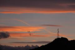 Pylone in the dark (leblondin) Tags: sunset orange clouds ciel cielo nuages pylone