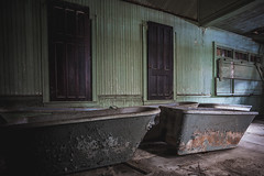 The gentlemen like it when a lady smells sweet (Erin Watson/Abandoned Exploration) Tags: old light shadow green abandoned beauty lines canon relax bath midwest aqua closed peeling paint doors photographer darkness floor decay neglected ruin rusty indiana calm dirty dirt forgotten porn memory bathtub grime crusty peely erinwatson erinwatsonphotography