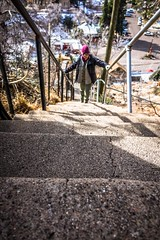 Climbing up, up, up in Bisbee.