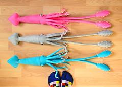 Giant Squid Sisters (hine) Tags: show pink blue art toy handmade gray craft felt exhibition plush squid nuigurumi hinemizushima