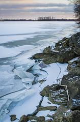 Cracking Ice (bdbaum17) Tags: winter sunset ohio lake snow ice frozen rocks shoreline grand crack shore oh cracking