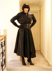 Black Night (1) (Furre Ausse) Tags: black leather belt dress boots skirt blouse gloves satin cincher governess gouvernante