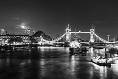 B&W - Tower Bridge - HMS Belfast (Matys_ldn) Tags: city uk bridge light england bw moon white black london tower skyscraper landscape town nikon long time sigma belfast moonrise 1750 moonlight hms lihgts whi