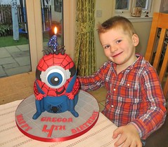 Gregor & Spiderman Minion (A Cherry On Top Scotland) Tags: cake fife spiderman birthdaycake 4thbirthday burntisland minion cherryontop clairesara spidermanminion acherryontopscotland vowswinner2015