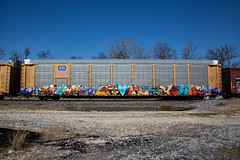 (o texano) Tags: bench graffiti texas houston trains snack freights mfk benching
