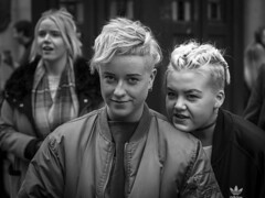 Freedom Of Expression (Leanne Boulton) Tags: life street city uk girls light shadow portrait people urban blackandwhite bw woman white black detail texture girl monochrome face look canon 50mm mono scotland living blackwhite women eyecontact faces natural emotion humanity bokeh outdoor expression glasgow candid character young culture streetphotography streetlife scene depthoffield human shade portraiture 7d blonde feeling closeness society groupshot tone facial candidportrait candidstreetphotography candideyecontact