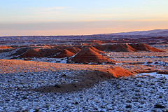 Sunrise on the Middle Desert, February 2016 (Bob Palin) Tags: winter usa snow cold southwest 1025fav sunrise landscape utah nationalpark sandstone desert outdoor 100v10f february capitolreef redrock cathedralvalley club100 100vistas instantfave ashotadayorso cloudsstormssunsetssunrises orig:file=2016020805096
