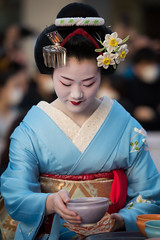 (byzanceblue) Tags: portrait white hair kyoto tea traditional maiko geisha   gion                      tomitaesan