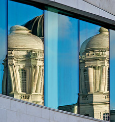 Reflection of a Grace (hogsvilleBrit) Tags: blue england reflection museum liverpool pillar grace threegraces classical pierhead classicalarchitecture museumofliverpool