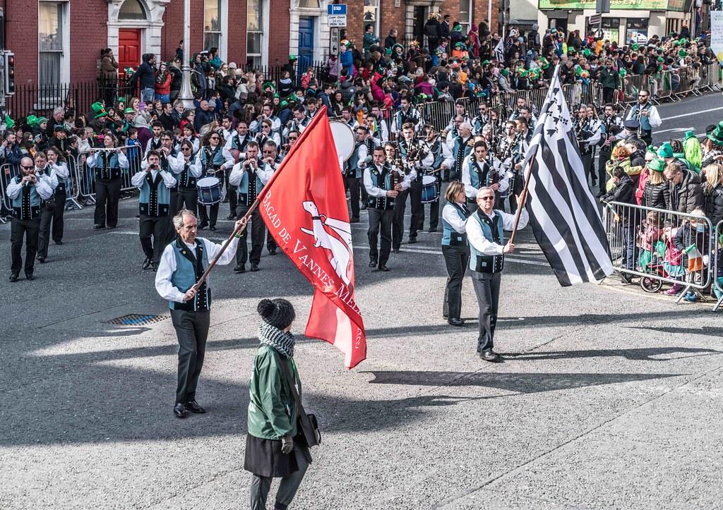 Bagad de Vannes Melinerion Brittany [St. Patrick's Parade In Dublin 2016]-112382