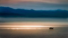 Kvarner Bay (Bernd Thaller) Tags: ocean light sea sky sun mountains reflection water silhouette backlight sunrise landscape boat seaside outdoor croatia shore adria kvarner