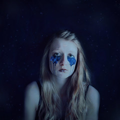 Made of Stardust (Abby Kroke) Tags: blue portrait woman moon girl face lady female watercolor hair stars person sadness eyes tears sad emotion space crying crescent galaxy emotional tones emotive sailormoon stardust celestial