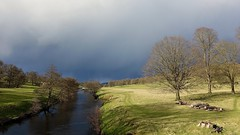 River Derwent (jeannie debs) Tags: camera light storm sunshine rain weather animals clouds river countryside spring sheep sony april showers springtime rx100m3