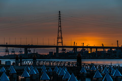 Bridge at Sunset (GayanDeSilva) Tags: bridge sunset orange sun set pier sunday australia melbourne victoria docklands bolte etihad