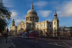 St. Paul's Cathedral (scarlet-pimp) Tags: uk greatbritain winter england sky cloud london church by architecture canon town britain great thecity motionblur dome barbedwire baroque timeout cityoflondon londonbus stonegallery thecityoflondon redbus londoners londonist churchofengland sirchristopherwren ludgatehill stpaulschurchyard canonstreet goldengallery whisperinggallery bbcengland