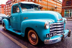 Chevy, not dry (mikkelfrimerrasmussen) Tags: chevrolet car vintage turquoise chevy 3100 veteranbil a54505