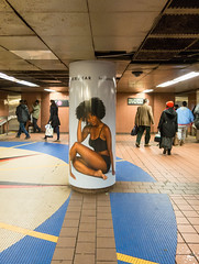 Thinx Ad (UrbanphotoZ) Tags: nyc newyorkcity woman ny newyork subway tile star sitting floor underwear manhattan mosaic afro passengers midtown grandcentralstation column grandcentral eastside concourse thinx