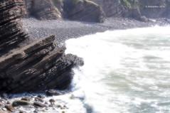 paisaje 79 (rokobilbo) Tags: blue sea beach rock landscape waves stones strength
