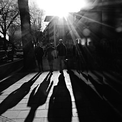 London: Chiswick High Road (Barbara Chandler) Tags: blackandwhite london shadows sundown chiswick intothesun w4 longshadows chiswickhighroad