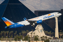 Allegiant 757 (SeriouslyFunny Photography) Tags: las vegas plane airplane photography airport aviation nevada casino strip airline boeing luxor spotting 757 mccarran planespotting allegiant avgeek