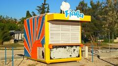 Biograd na Maru (Jamie Barras) Tags: blue sky ice beach sunshine weather stand spring day cream croatia sunny stall april kiosk biograd 2016