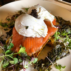Brunch at Patch Cafe in Richmond - poached eggs on smoked salmon