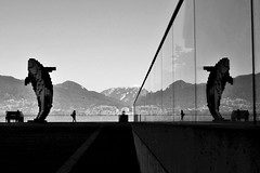 Digital Orca (SqueakyMarmot) Tags: blackandwhite bw sculpture reflection vancouver downtown waterfront publicart douglascoupland conventioncentre northshoremountains westbuilding jackpooleplaza digitalorca