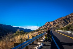 Reaching the top of Mule Pass, near Bisbee, AZ.
