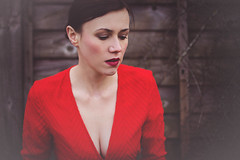 3/52 Lady in red (bernadetakupiec) Tags: red portrait people woman girl face outdoors 50mm eyes dress skin project2016