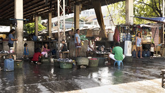 Fish Market (Beegee49) Tags: city people fish smiling market philippines cleaning area bacolod waving