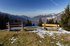 2 benches with a view (Thomas Mülchi) Tags: switzerland flumserberg churfirsten 2015 cantonofstgallen tannenbodenalp lakewalenstadt churfirstenmountainrange